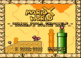 Screenshot Thumbnail / Media File 1 for Super Mario World (USA) [Hack by Anikiti v1.2] (~MarioX World - Bowser's Strike Back) (Ja)
